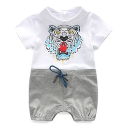 tutus for boys 2019 - Retail Wild Baby Romper Cotton Short Sleeve Wrap Romper For Baby Boy And Girl Plain Print Baby Clothes cheap tutus for b