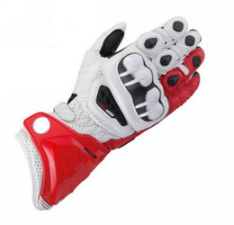 Discount leather gloves long finger men - New Red Colors 100% Genuine Leather GP PRO Motorcycle Long Gloves MotoGP M1 Racing Driving GP PRO Motorbike Cowhide Glov
