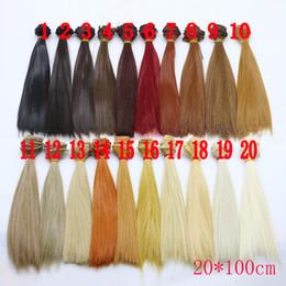 Wig Grey Australia - 1pcs Hair Doll Hair 20*100cm For 1 6 Girls Doll Black Gold Brown Khaki White Grey Color Short Straight Wig For BJD