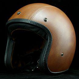 $enCountryForm.capitalKeyWord NZ - Cafe Racer Harley Motorcycle Helmet Retro Leather Vintage Motorbike Open Face Helmets Scooter Jet Motocross Helmet Capacete