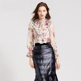 Brand Designer Women Cascading Ruffle Blouse 2018 Autumn Fashion Flounced  Long Sleeve See Through Chiffon Elegant Party Cocktail Shirts 346b89765