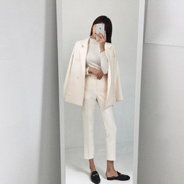 Double Breast Dresses NZ - Custom fashion new women's women's casual solid color double-breasted suit two-piece suit (jacket + pants) women's business dress