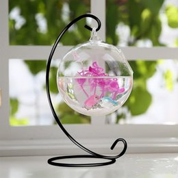 Glasses For Weddings Australia - 9inch height black Ornament Display Stand Iron Hanging Stand Rack Holder for Hanging Glass Globe Air Plant Terrarium Wedding party decor