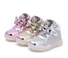 Sh Fashion UK - 2018 NEW style children's USB charging LED light shoes kids Nightclub dance shoes boys and girls sneaker fashion KT cat shoes casual sh
