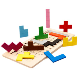 blocks tetris Australia - Baby Educational Toys Katamino Blocks Wood Learning Tetris Blocks Tangram Slide Building Blocks Children Wooden Toys Gift