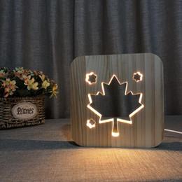 La lampada di legno della foglia di acero 3D riscalda la luce bianca USB alimentata DC 5V USB alimentato Dropshipping all'ingrosso Trasporto libero