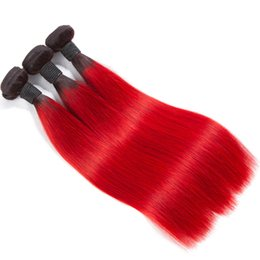 Discount 22 inch tone weave - Ombre Peruvian Virgin Hair Weaves Bundles Two Tone 1B 99J Wine Red Brazilian Peruvian Malaysian Silk Straight Human Hair
