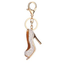 China Fashion Crystal High Heel Rhinestone Keychain Shoe Charm Handbag Car Keys Holder Pendant Keyring CX17 cheap heels handbag suppliers