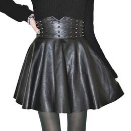 6561954945 Moda Sexy cuero de la PU de cintura alta faldas remache de las mujeres  plisado una línea Mini falda tallas grandes ropa de mujer