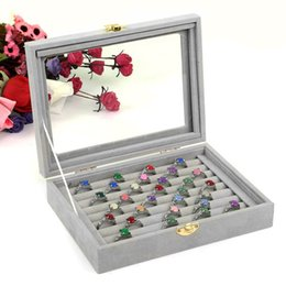 glasses displays 2019 - 2018 Gray Velvet Glass Jewelry Box Rings Necklaces Storage Display Box Makeup Holder Case Organizer Ear Studs Jewelery S