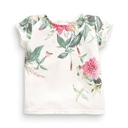 Chinese Floral Paintings Australia - Little Maven New Summer Kids Clothing Short O -Neck Chinese Floral Painting Printed Tee Knitted Cotton Girls Casual Tshirt