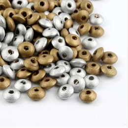 wholesale wood animals NZ - 100pcs Wooden Spacer Beading Beads for Bracelet Necklace DIY Crafts Gold Silver 12x5mm Wood Beads