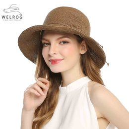 Discount elegant hats for beach - WELROG Casual Summer Hats For Women Straw Beach Hat 2018 New Summer Fashion Bow Design Brown Elegant Visor Female Hat