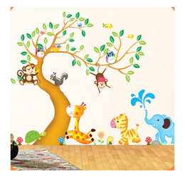 nursery stickers jungle UK - Oversize Jungle Animals Tree Monkey Owl Removable Wall Decal Stickers Nursery Room Decor wall stickers for kids rooms ST13872986