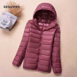 $enCountryForm.capitalKeyWord Canada - SEDUTMO 2018 Winter Plus Size 3XL Womens Down Jackets Short Ultra Light Duck Down Coat Autumn Warm Hooded Puffer Jacket ED152