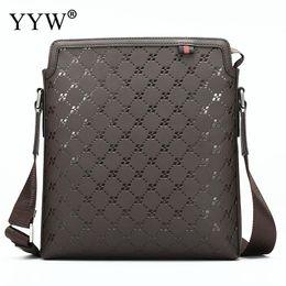 Color Leather Bags Australia - Vintage Male Crossbody Bag Genuine Leather Handbags Coffee Color Messenger Bags Lattice Pattern Men's Handbag Shoulder Bag