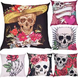 Discount hid design - Unique Design Skulls Print Pillow Case Polyester 45*45cm Hidden Zipper Closure Cartoon Pilow Case #41405Drop Shopping Al