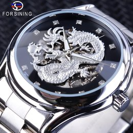 Wholesale Forsining Fashion Dragon Design Silver Stainless Steel Diamond Display Men s Automatic Wristwatch Top Brand Luxury Montre Homme