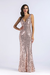 $enCountryForm.capitalKeyWord NZ - new hot style sexy v-neck sleeveless beaded sequinned dresses factory supply Sequin gold bridesmaids prom wedding dress