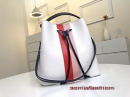 Leather bag hand strap online shopping - Hot sale new fashion woman bag designer genuine leather bucket color matching with long strap woman tote hand bag