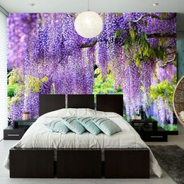 3d custom photo wallpapers NZ - Custom Poster Printing 3D Romantic Purple Flower Vine Wall Painting Living Room Bedroom Photo Background Mural Wallpaper Decor