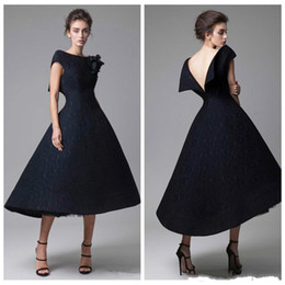 a61cedb77a Vestidos de baile de encaje corto negro perfecto hecho a mano flor sin  respaldo longitud de té desfile desgaste formal vestidos de fiesta vestidos  de noche ...