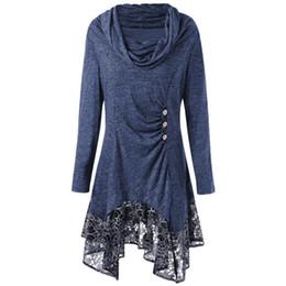 dfa5d66eb76 Autumn Winter Turtleneck Long Sleeve Dresses Casual Irregular Sweater  Dresses Vintage Lace Patchwork Robes Femininas WS9865U