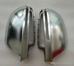 Discount audi a6 c6 - 2009 A4 B8 A6 C6 Chrome Side Wing Mirror Covers Cap fit Audi A6L A4L A8 Q3 A5 B8 8K case Replacement Silver Matte