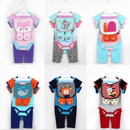 Wholesale Ins NEW infant baby clothing Kids Cotton Long Sleeve O neck Animals print Romper hat bib shoes cotton baby set Climb romper
