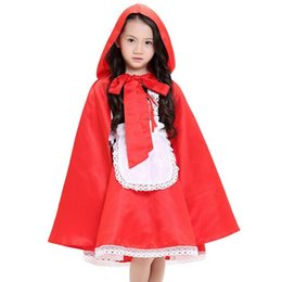 China Girls Fairy Tales Clothes Sexy Maid Uniform Children Halloween Kids Cosplay Fancy Dress Cape Little Red Riding Hood Costume cheap little red riding hood movie costume suppliers