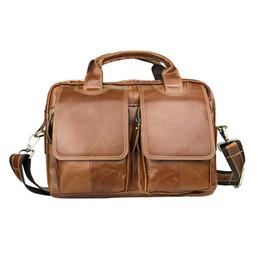 7fa960531b Nesitu Vintage A4 Brown Coffee Genuine Leather Men Briefcase Messenger Bags  Male Portfolio for 9.7   ipad Shoulder Bag M1772