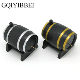 Plastic Toothpick Wholesale Australia - GQIYIBBEI Creative Household Wine Barrel Plastic Craft Ornaments Automatic Toothpick Box Container Dispenser Holder Popular