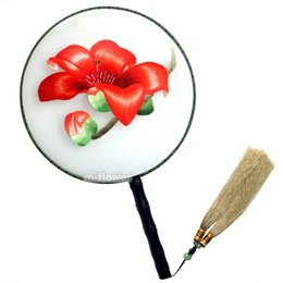 Decorative Art China Australia - Red Kapok Round Shape Chinese Fine Pure Handmade Double Side Embroidery Real Silk Hand Fan Party Wedding Art Crafts Gift Decorative