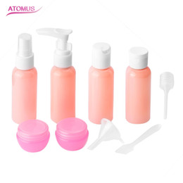 Makeup Packaging Australia - 9pcs set Refillable Travel Bottles Set Package Cosmetics Bottles Plastic Pressing Spray Bottle Makeup Tools Kit For Travel Vaporizer Pink