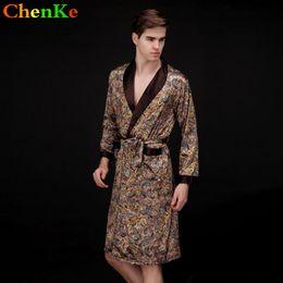 67086834ce ChenKe Luxury Men Robe Pajamas Spinning Silk Kimono Long Sleeves Robe  Pajamas With Belt Chinese Dragon Pattern