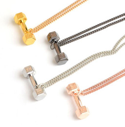 circle fitness 2020 - Mixed Color Fitness Dumbbell Necklaces Pendant Charms Choker Statement Barbell Couple Chain Necklaces For Women Jewelry