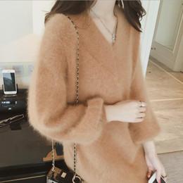 f77ec2a95c7 Ladies  hair knitted sweater female middle length V mink velvet dress