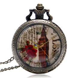 Discount watches designs for girls - 2018 Hot Sale the Big Ben with Rose Dial Design Bronze Pocket Watches with Chain Necklace for Girl&Boy Gift Antique Fob