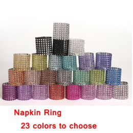 Table Charm Wholesale Australia - 8 rows diamond napkin rings plastic napkin buckle charm Mesh Diamond Wrap Napkin Ring Serviette Holder hotel wedding table decoration AAA779
