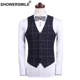 British Slim Suits NZ - SHOWERSMILE Plaid Suit Vest Men Black Slim Fit Suit Waistcoat Male British Style Dress Vests Classic Autumn Sleeveless Jacket
