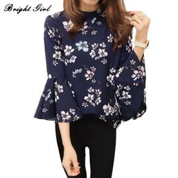 $enCountryForm.capitalKeyWord Canada - BRIGHT GIRL Women Blouse Autumn Floral Chiffon Tops Korean Fashion Blusas Chemise Flare Sleeve Shirt Women Ladies Office Blouse