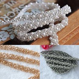 Pearl Trim Yard NZ - Fashion Handmade 2 yard pearl Beaded Trim wedding Bridal Pearl Applique for DIY sash