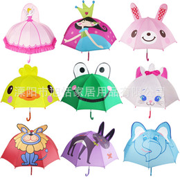 kids cartoon umbrella 2018 - Animal Children Umbrella Yellow Duck Cat Lion Elephant Cartoon Long Handle Cute Rain Sun Umbrella Kids Gift 13 8xt bb ch