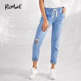 $enCountryForm.capitalKeyWord NZ -  Tribal Pattern Casual Loose Jeans Women Light Blue Drawstring Denim Pants 2018 Autumn Fashion New Mid Waist Vintage Jeans