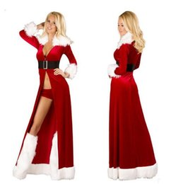 Discount santa costume lingerie - Hot Women Sexy Christmas Cosplay Costumes Halloween Festival Uniform Long Dress Santa Clause for Women Sexy Lingerie