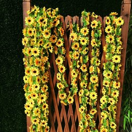 Discount table decor for birthday party - 2m Artificial Sunflower Garland Flower Vine For DIY Floral Decor Vivid Fake Leaf Flower Wedding Home Party Decoration