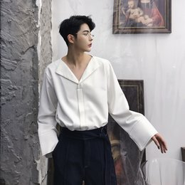 $enCountryForm.capitalKeyWord Canada - 2018 New Fashion Men Shirt V-Neck Long Sleeve Casual Shirt Male Solid Wide Cuff Vintage Style Black White Mens Shirts M-XXL
