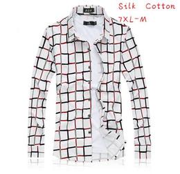 Mens Plus Size Silk Shirts Canada - Plaid Shirts 2018 Mens Fashion Long Sleeve Silk Cotton Shirt Plus Size 7XL 6XL 5XL Camisa Masculina Hombre For Man