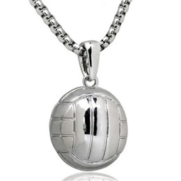 Strength Jewelry NZ - Men Volleyball Necklace Pendant Stainless Steel Chain Gold Color Ball Lover Sport Charm Necklaces Athletic Strength Jewelry