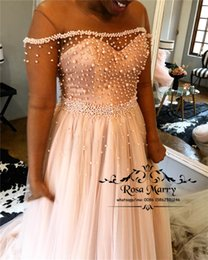 $enCountryForm.capitalKeyWord Canada - Luxury Pearls Plus Size African Prom Dresses 2019 A Line Illusion Long Sleeves Tulle Black Girls Formal Graduation Evening Party Gowns